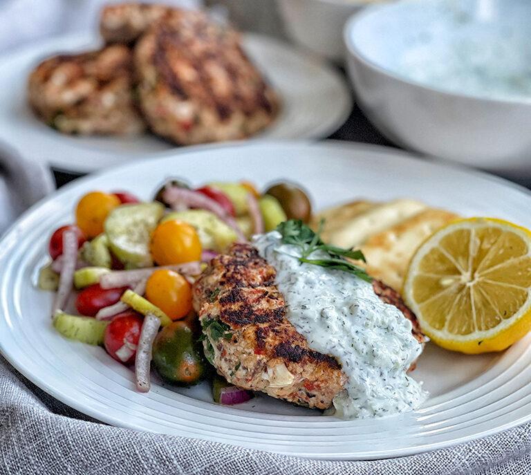 Greek Turkey Burgers with Yogurt Sauce and Cucumber Salad